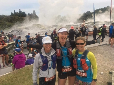 Spectacular (& stinky) start line at Pohutu Gyser with friends - SO excited!!