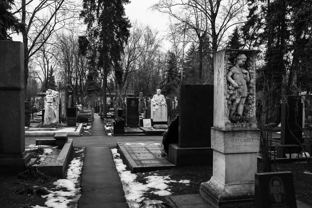 Novodevichy cemetery, Moscow, Russia, January 2014.