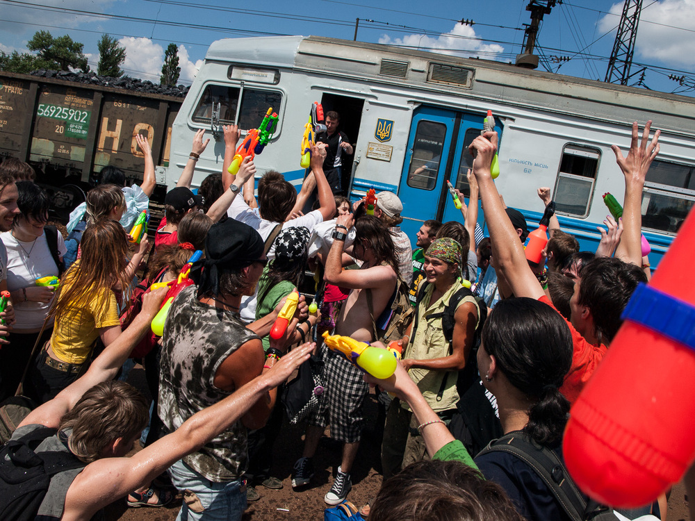 A 'flashmob' surrounds a train at the railway station in Pavlograd, east Ukraine.