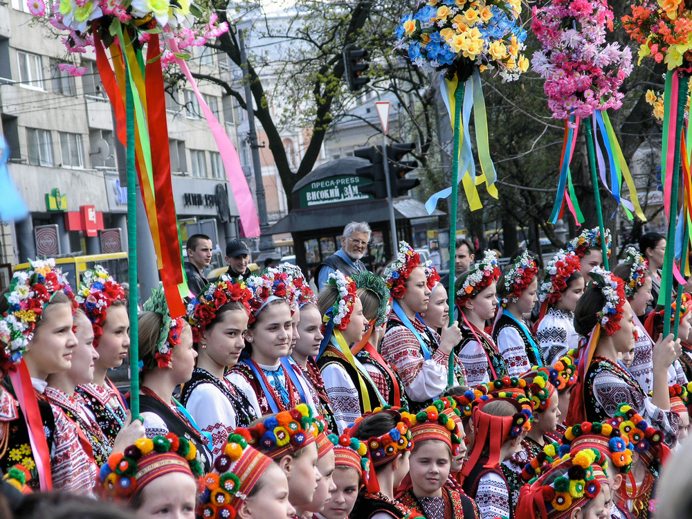 Children in traditional Ukrainian dress photographed at an Easter parade in the west Ukrainian city of Lviv.