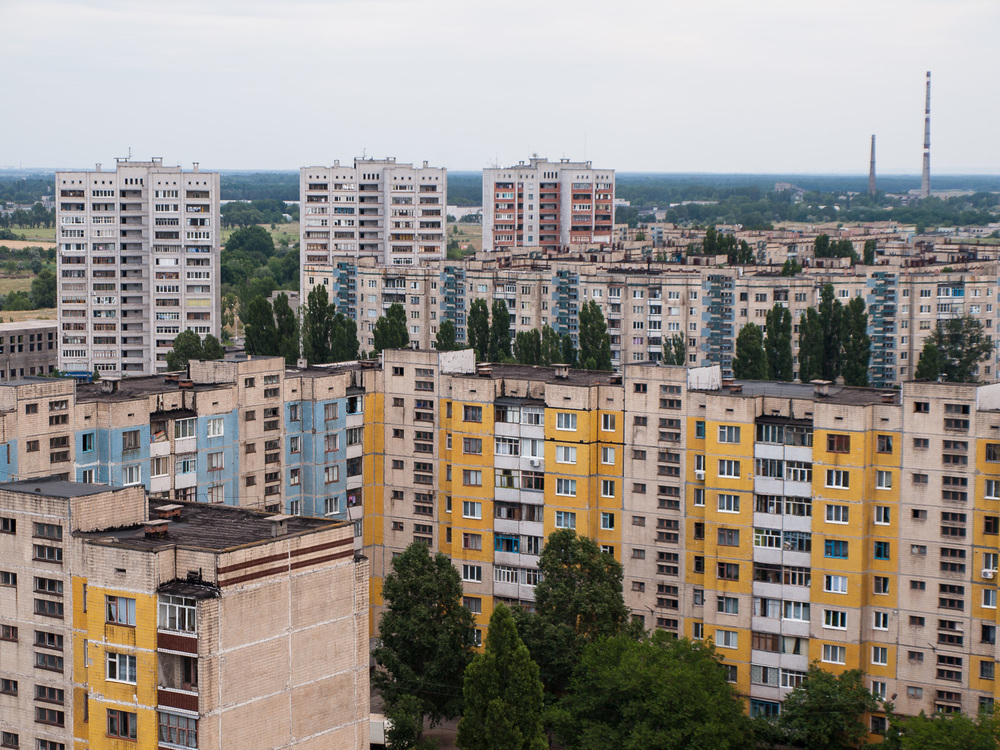 Apartment blocks in the industrial town of Dniprodzerzhynsk.