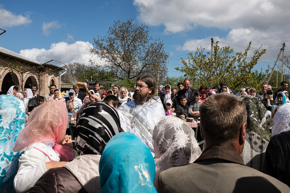 Father Nikolai Bobkov of the Russian Orthodox Old-Rite Church in the village of Stara Nekrasivka at Easter. The village, in Odessa region, is home to a community of Orthodox Old Believers which traces its origins to the arrival of settlers in this corner of Ukraine following the schism of the Russian Orthodox Church in 1654.