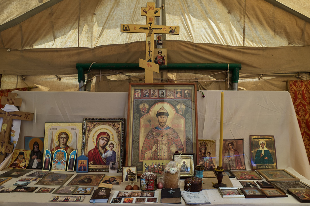 Tsar Nicholas II pictured on an icon in a tent in the main pro-Russian protest camp in Odessa during the 'Euromaidan' uprisings. The camp was destroyed in clashes in May 2014, which left over 40 dead in a fire in the nearby Trade Union House.