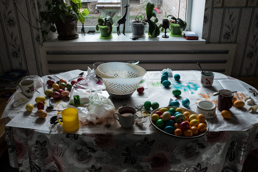 Painted eggs on a table in the village of Stara Nekrasivka in Ukraine's Odessa region. Painting eggs is an Easter tradition in Ukraine, Russia and many other countries with Eastern Orthodox populations.