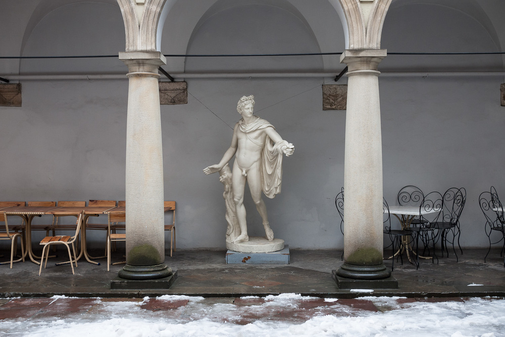 A statue in the Italian Courtyard of Lviv's history museum, west Ukraine.
