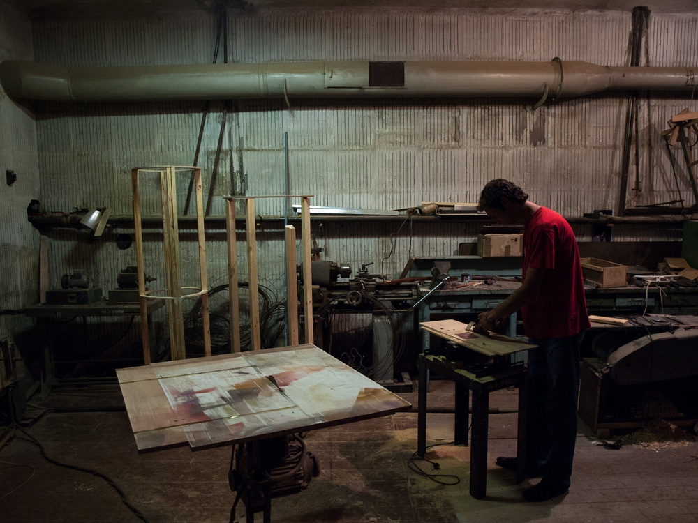 A man pictured in the workshop of a puppet theatre in the town of Kryvyi Rih.