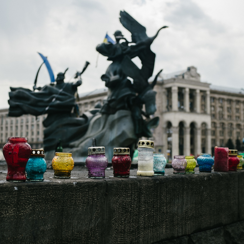 Candles photographed on a wall in Kiev's Independence Square, near to memorials to those killed during the Euromaidan protests.