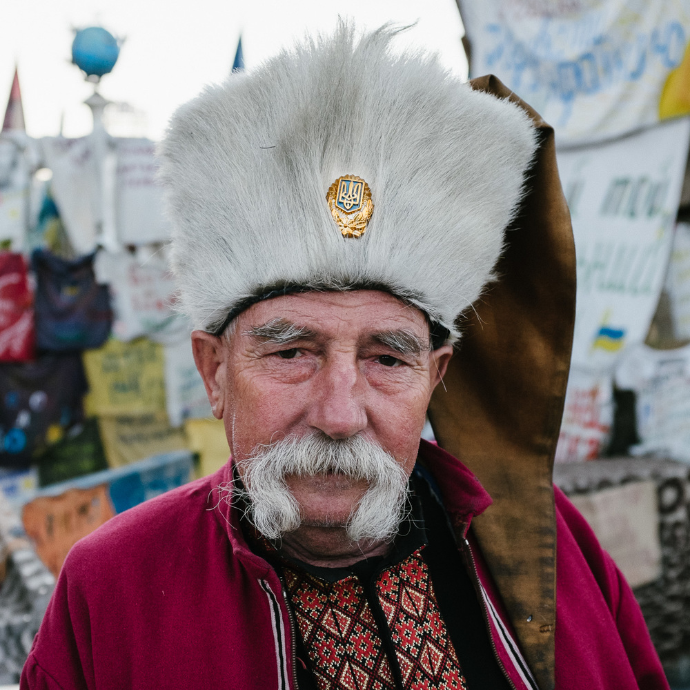 Taras Senik, a Cossack from the Lviv region of Ukraine, photographed on Kiev's Independence Square, April 2014.