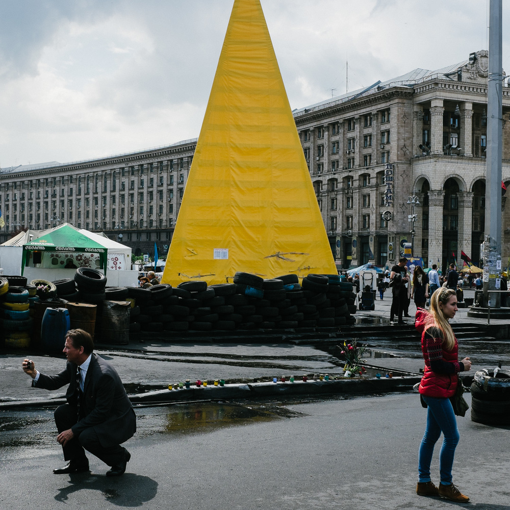 A street scene in Kiev's Independence Square, April 2014.