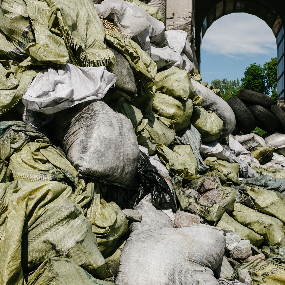 Sandbags piled in Kiev's Independence Square, April 2014.