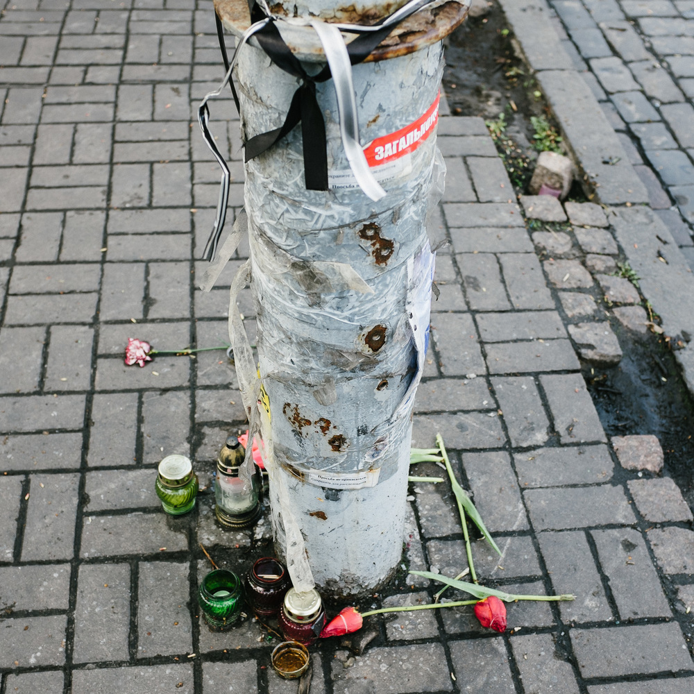 Bullet holes mark a lamppost on Kiev's Hrushevskoho Street, off Independence Square.