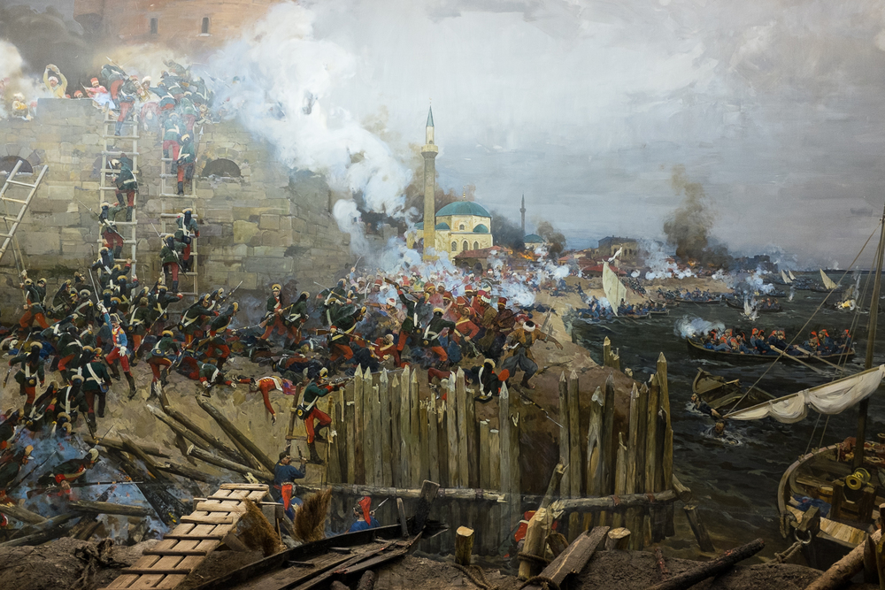 Izmail. Detail of a panorama in a museum depicting the Russian assault on the town, led by Prince Grigori Potemkin and General Aleksander Suvorov, during the Russo-Turkish war in 1788.