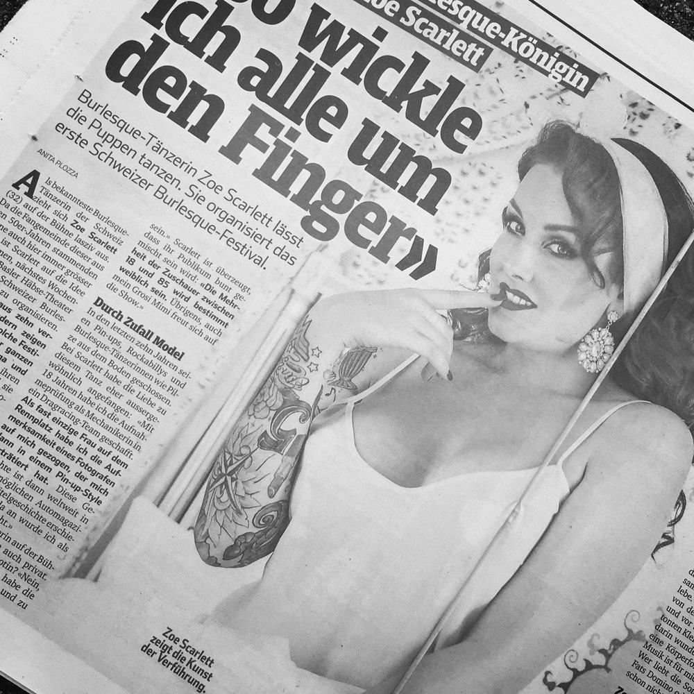 presse & tv - Zoe Scarlett ist die bekannteste Burlesque Künstlerin der Schweiz und regelmässig in der Presse zu sehen. Von Print, Online zu regelmässigen TV Auftritten, sowie RedCarpet appearances.. Zoe Scarlett kennt MAN(N)