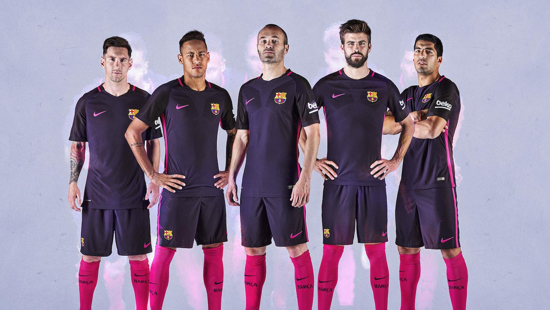 Barcelona adult black soccer uniform