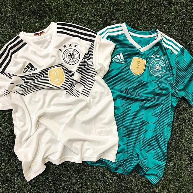Defending World Cup champs - Germany's home and away jerseys for this summer 🇩🇪 #adidas #adidasfootball #germany #fifa #worldcup #russia2018