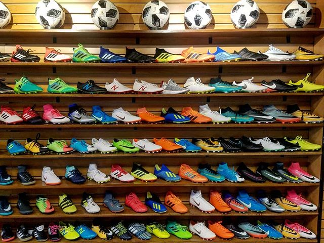 Current state of the boot wall. See your favorite?  #nike #adidas #newbalance #mercurial #hypervenom #magista #tiempo #ace #predator #nemeziz #x #furon #tekela #ronaldo #messi #soccer
