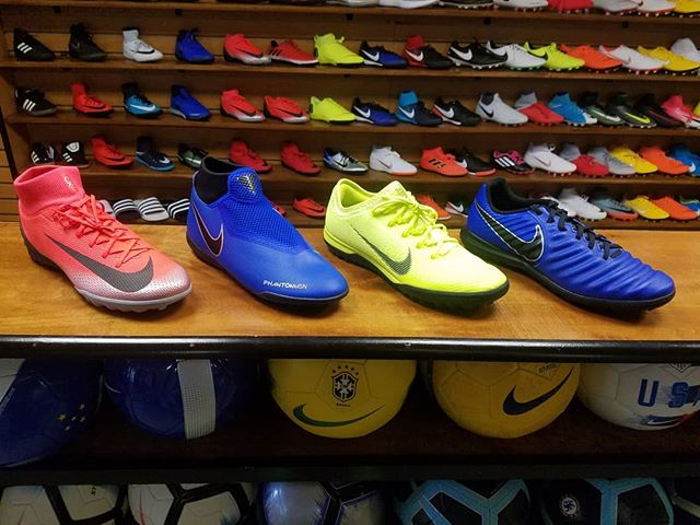 A few of the new additions to The Soccer Shop. Which one will you choose to dominate the winter season? #Nike #CR7 #Mercurial #PhantomVision #Tiempo