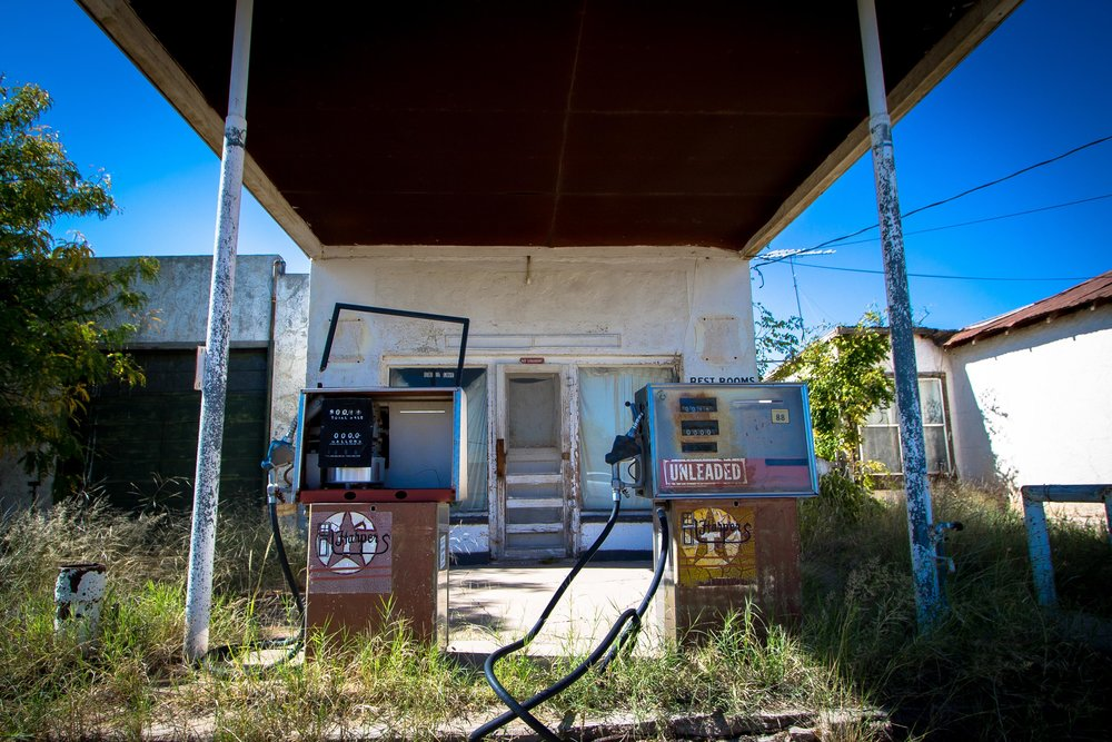 Old gas station on Highway 90, near Marfa.