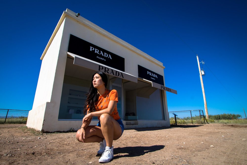 Yuko & Prada Marfa, a permanent art installation by Elmgreen & Dragset, 2005.