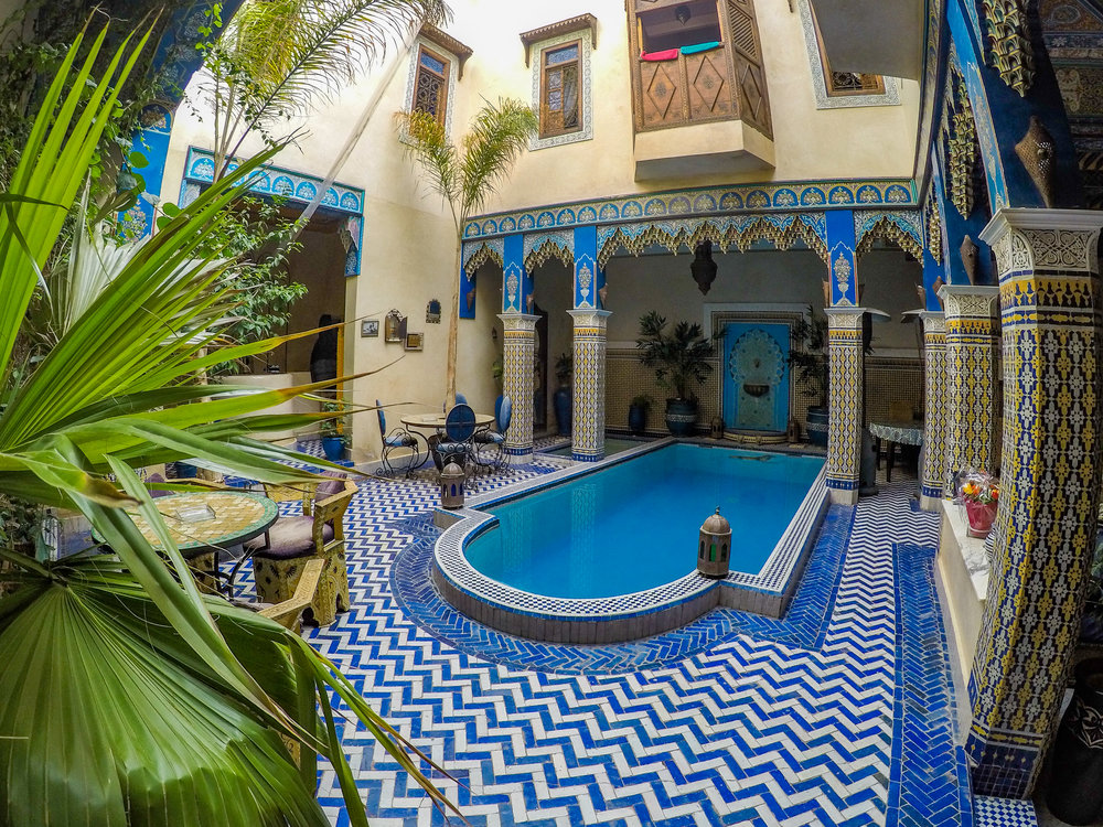 Riad Puchka - This is an incredible place that we stayed at while visiting the the city of Marrakesh.  It's a traditional Moroccan style 'Riad' with multiple floors and a courtyard.  Elaborate detail from top to bottom.