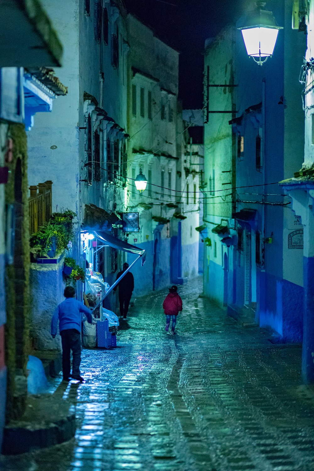 The blue village is a mystical place at night.