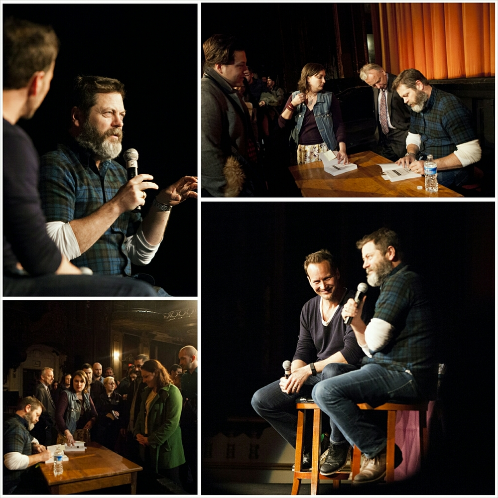 Nick Offerman in conversation with Patrick Wilson at the Loew's Jersey Theatre. Photo credit: Alyssa Ki