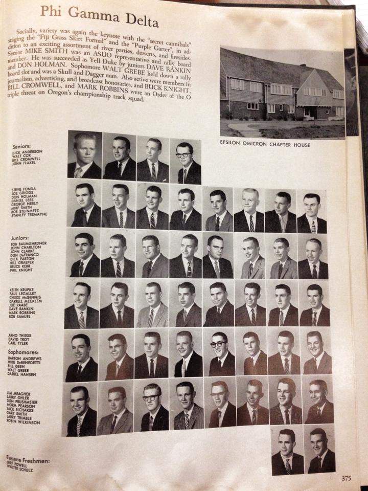 Class of 1958, including Phil Knight, founder of Nike, lived in the house pictured upper right - at 1825 Harris Street.