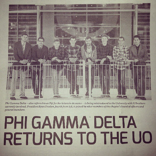 "Caption reads: ""Phi Gamma Delta - also referred to as Fiji for the letters in its name - is being reintroduced to the University with 52 brothers currently involved. President Ryan Donlon, fourth from left, is joined by other members of the chapter's board of officers and general members."""