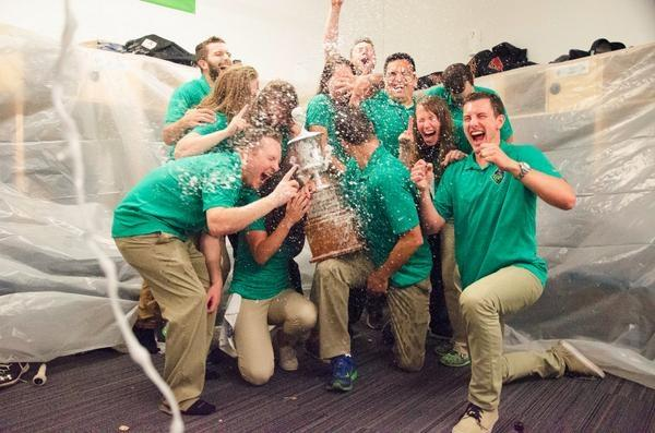 Ryan Donlon and his fellow interns celebrate the Hillsboro Hops winning the Northwest League Championship