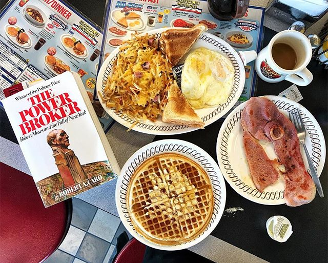 One month and 1058 pages left in #CUNYJ18 winter break! . Shoutout to Channey and the folks at the Calvert City, Kentucky @wafflehouseofficial for the wonderful coffee, country ham and southern poutine: chunked, covered and country (gravy not pictured.) . #WaffleHouse #RobertMoses #Kentucky #RobertCaro #Waffle #Coffee #Foodstagram #eeeeats #FixTheGoddamnSubway