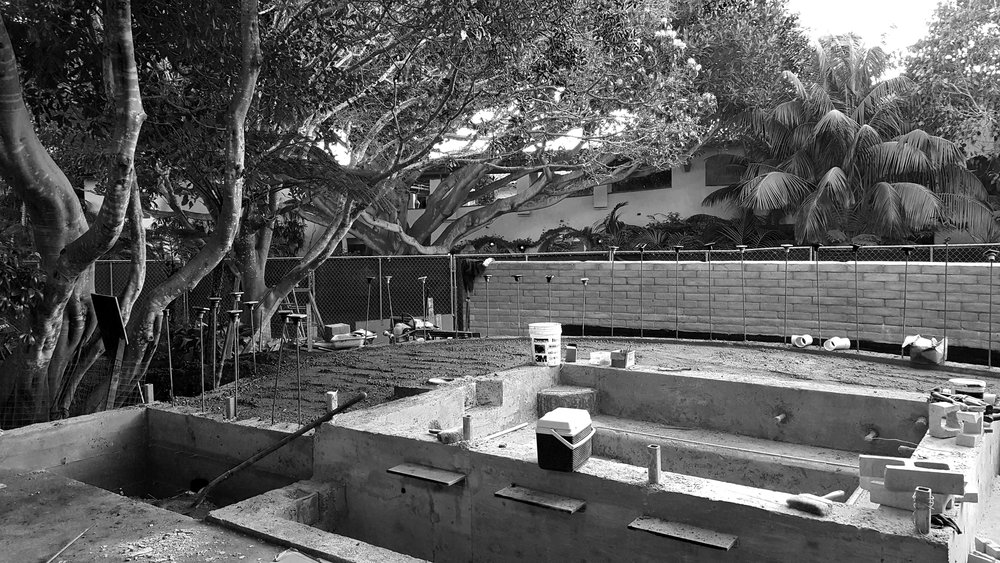 Construction of spa, new upper and lower patio areas