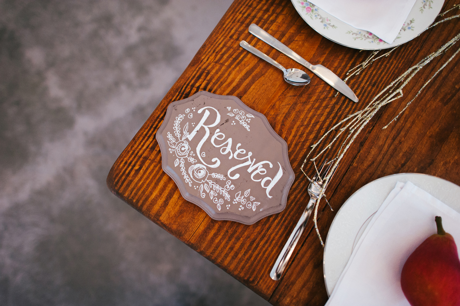hand lettering rustic bridal party table south carolina