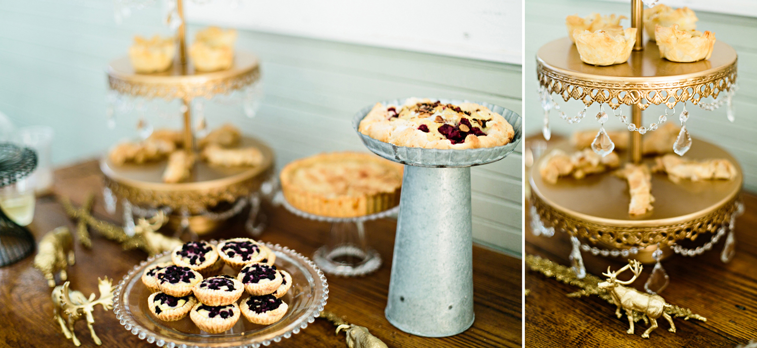 dessert table gold stands rustic