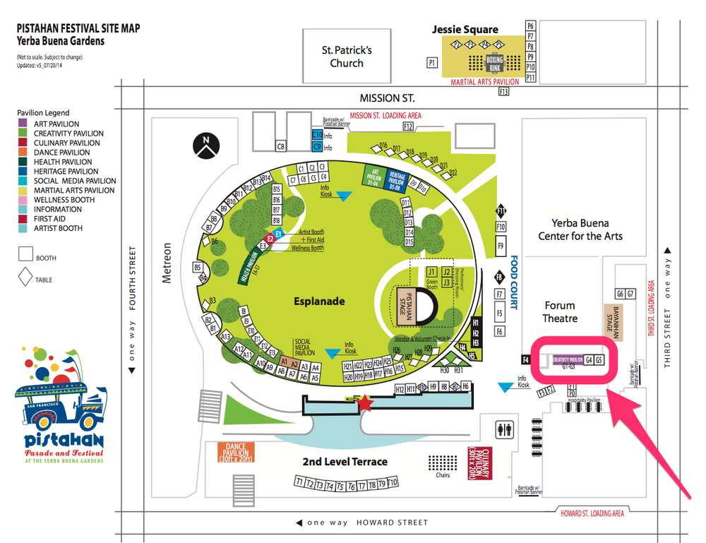 The Creativity Pavilion is located towards the Third Street side of Yerba Buena Gardens, around the corner from the Bayanihan Stage and Food Court. Click image to embiggen.