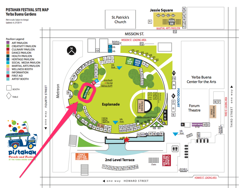 The Kaiser Permanente Health Pavilion is located towards the Metreon building side of Yerba Buena Gardens and across from the main Pistahan Stage. Click image to embiggen.