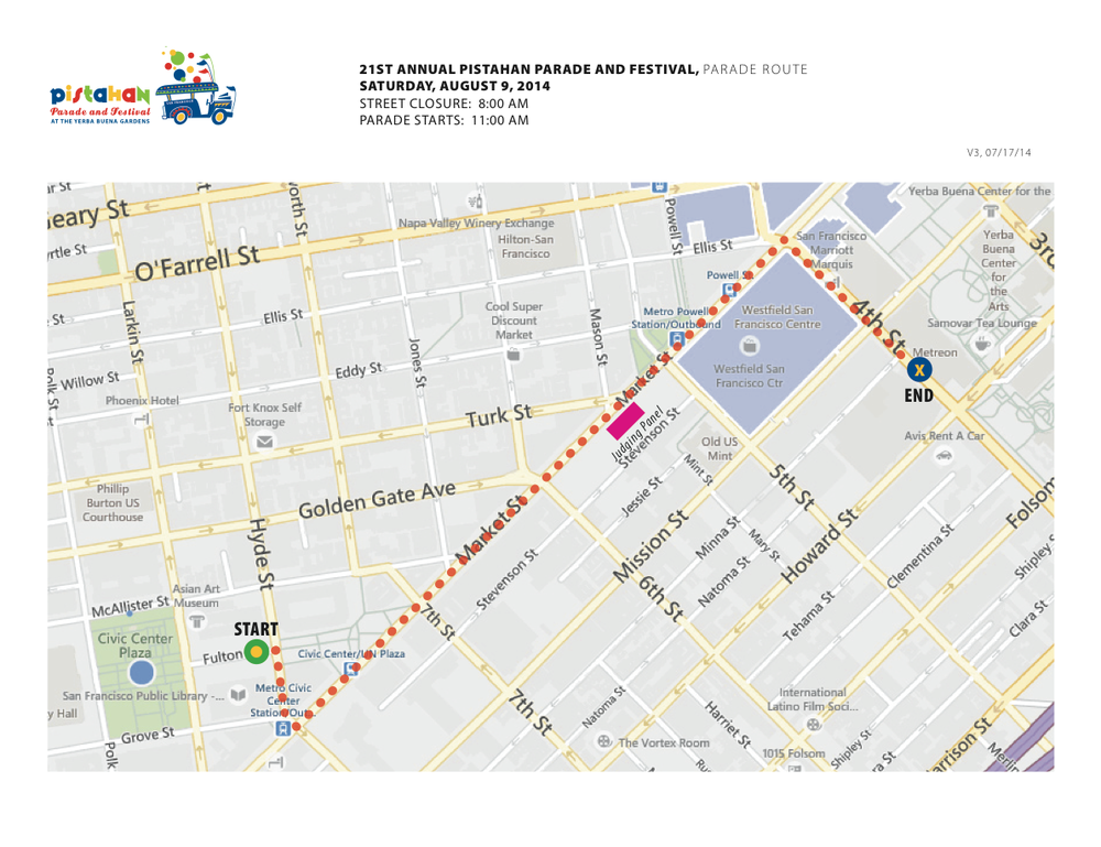 2014 Pistahan Parade Route, San Francisco Click map to embiggen.