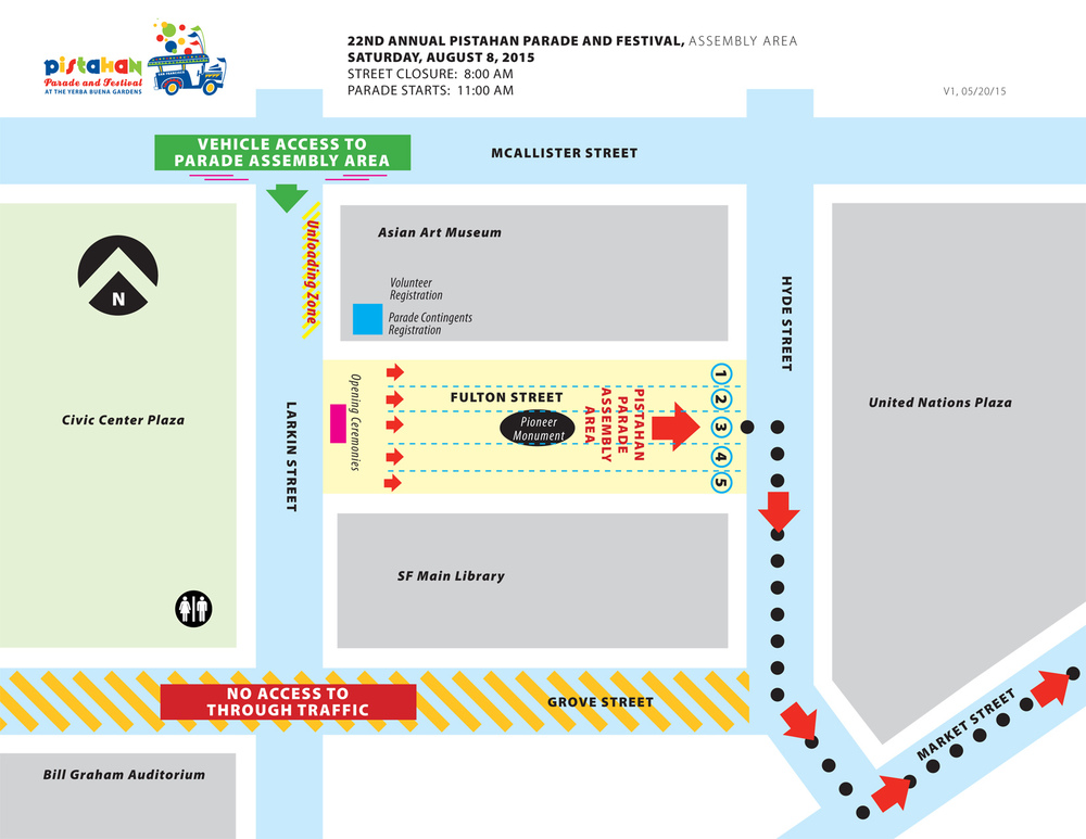 Pistahan Parade assembly area at Civic Center. Click image to embiggen.