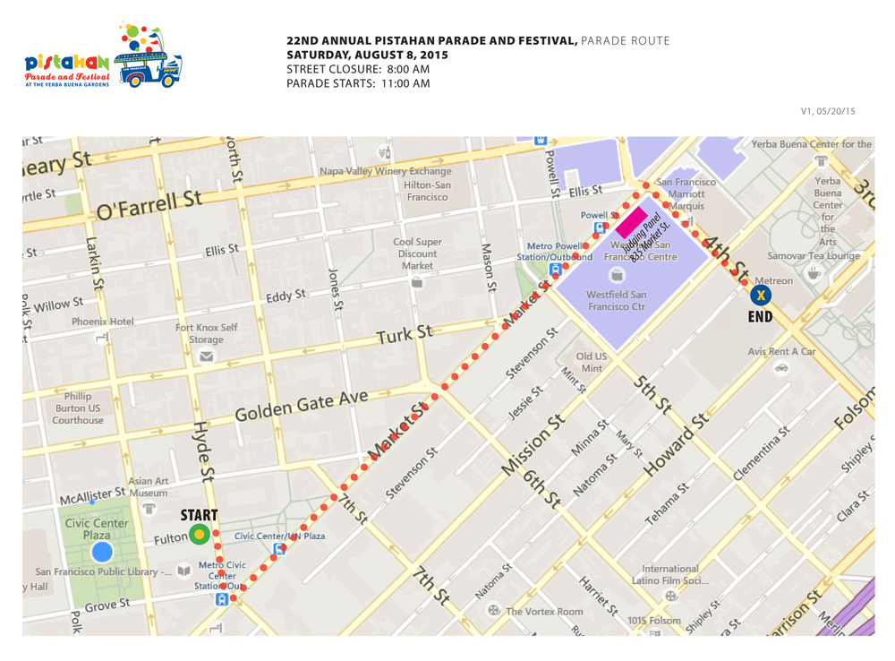 Map of Pistahan Parade route.  Click image to embiggen.