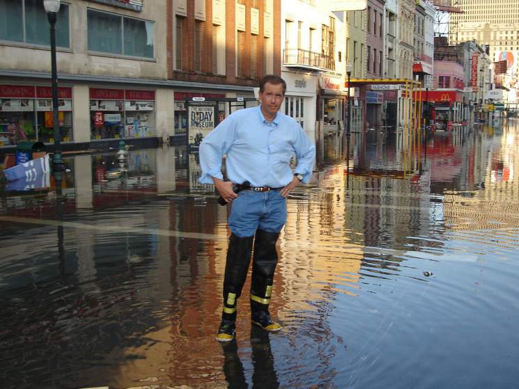 Brian Williams' reporting of Katrina is one of the topics of his attack.