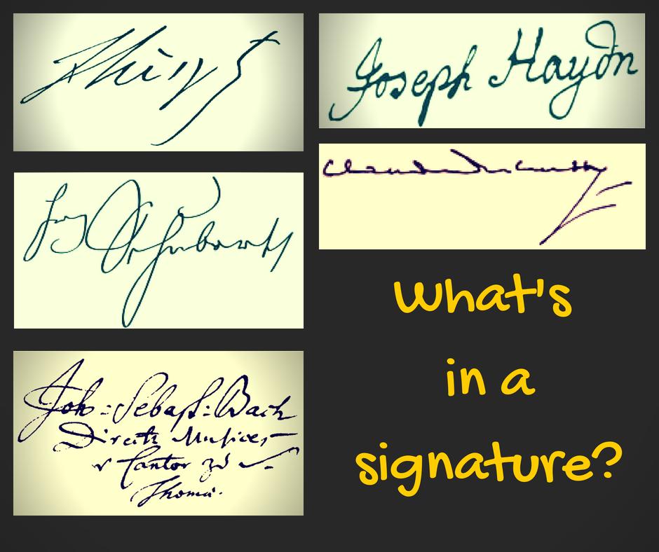 Signatures of Franz Liszt, Joseph Haydn, Franz Schubert, Claude Debussy, and Johann Sebastian Bach