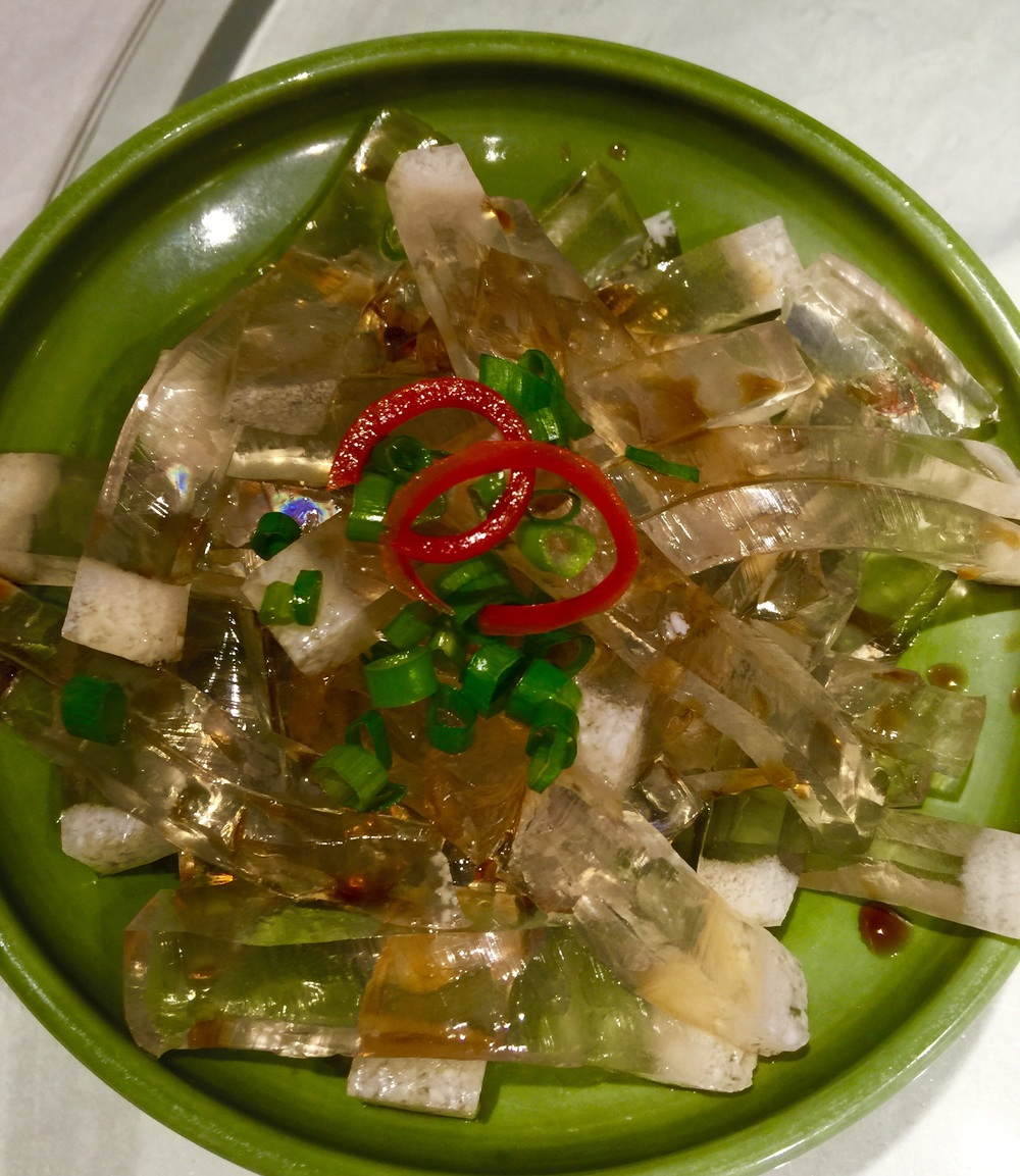 Fish Stomach in jelly - yummy! A gentle flavor offset by chives and spicy peppers.