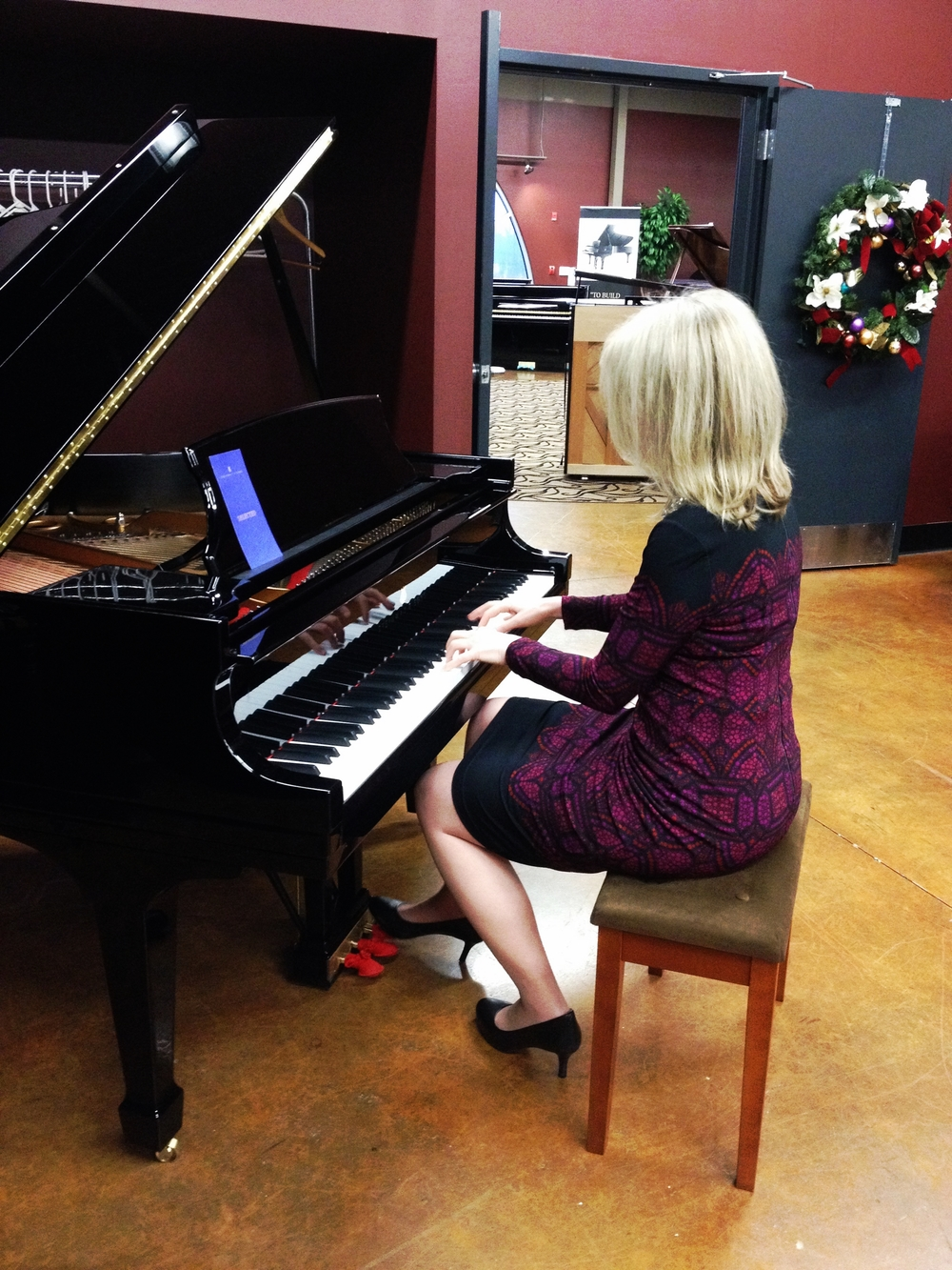 Playing on an impeccable Steinway Model M...