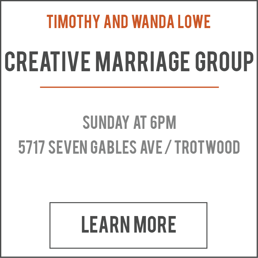 This Life Group is for married couples to learn how to do marriage God's way. We willhave fellowship and use a variety of bible study materials. Childcare is not provided. We do not meet on holiday Sundays nor leadership Sundays.