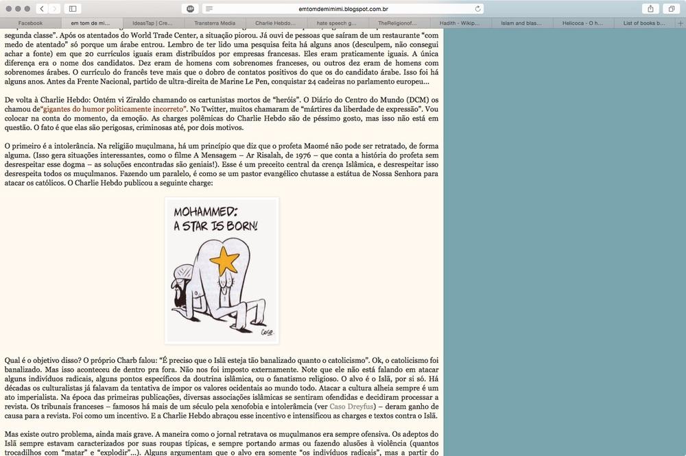 O site Em tom de mimimi que publica a charge ofensiva