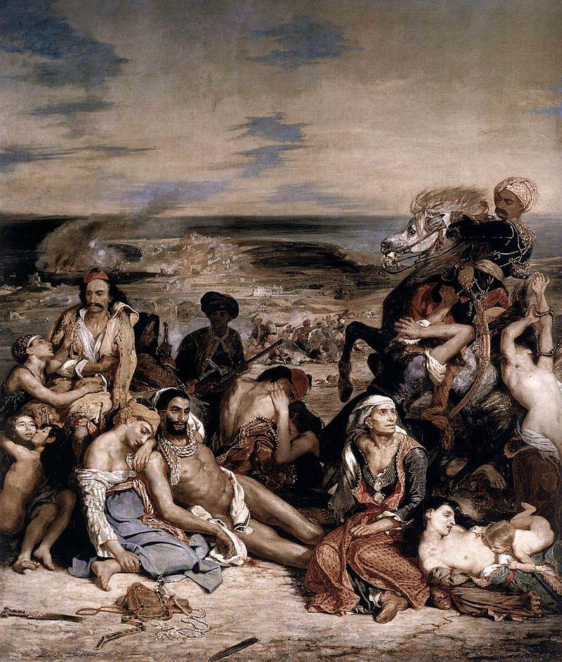 Scène des massacres de Scio,   de Eugene Delacroix, 1824,mostra o massacre doImpério Otomano contra civis gregos durante a guerra de independência da Grecia. Em 2009, pedido do governo Turco, o governo Grego retirou uma replica de exibição.