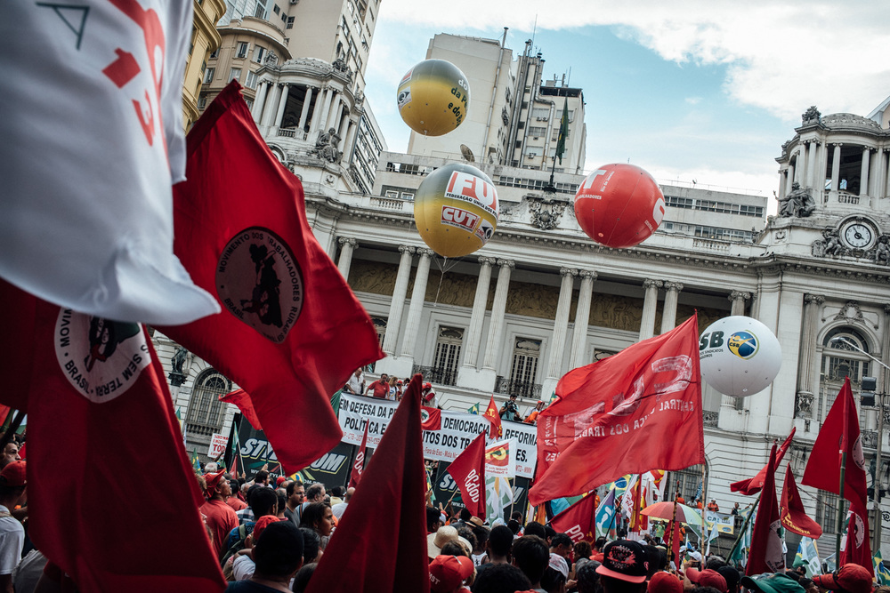 Rio de Janeiro city hall taken over by protestors defending Petrobras, the Brazilian state oil company. 03-13-2015