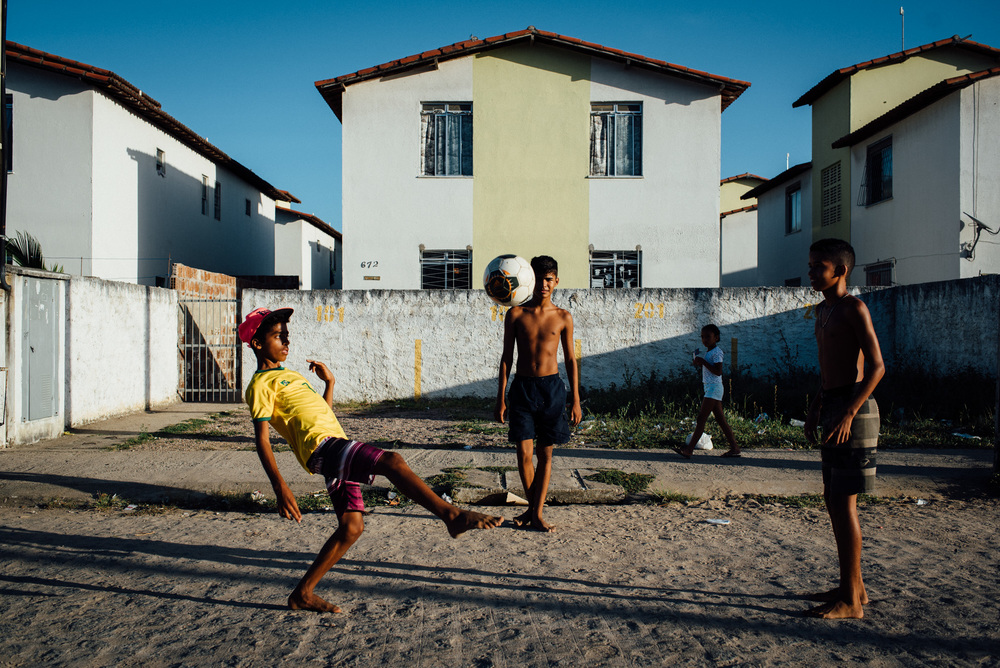 Late afternoon soccer practice at the Irma Dulce projects in Joao Pessoa.