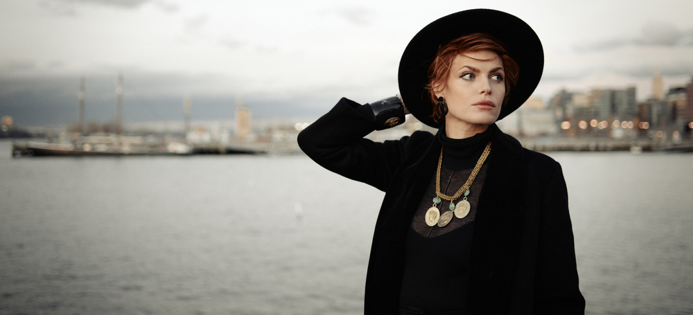 Christina wearing Cameo Cuff & Necklace with Nuba Earrings. Photo by Eftihia Stefanidi,  New York