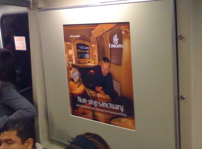 Emirates ad on the BART in San Francisco