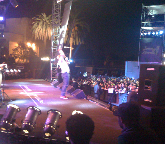 Common onstage at Jimmy Kimmel